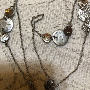 Silver tone long necklace